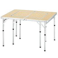BUNDOK(バンドック) グリルテーブル 98×80cm 分割して使用可能 バーベキュー/レジャーテーブル バンブー柄 BD-221の画像