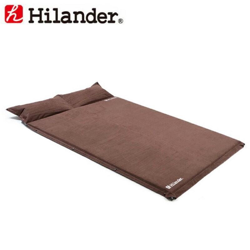 ハイランダー キャンプ用スエードインフレーターマット(枕付きタイプ) 5.0cm ダブル
