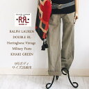 【SALE】【RRL by Ralph Lauren】ラルフローレン DOUBLE RL ダブルアールエル ヘリンボーン ダメージ ベイカーパンツ/KHAKI GREEN