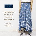ラルフローレン ブルーレーベル レディース アシンメトリー リネン フレア ロングスカート/ブルーRalph Lauren Long Skirt