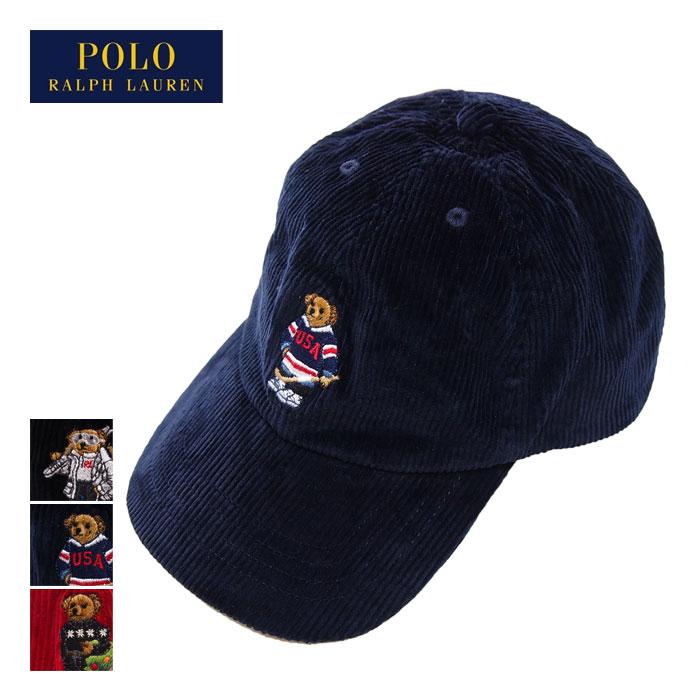 ラルフローレンポロキッズボーイズポロベアーコーデュロイキャップ帽子/レッド/ネイビー/ブラックPOL