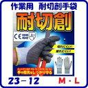 作業用 耐切創手袋23−12 M ・ LCEマーク付き耐切創 レベル5高性能ポリエチレン+ナイロン・グラスファイバー