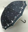 (^O^)/猫の手!!新作!!☆~~Le ciel ブランド春夏新作!! ・・・・白猫にゃん・と・お散歩・Drop・キラキラ・・~~☆ ブラック 強風や雪に強い12本傘 ジャンプ式 お買い得品・送料込み