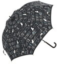 60cm ジャンプ傘 おしゃれ 本・ブラック・耐風傘 *数量限定販売