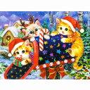 猫のミニクリスマスカード メールボックスと3匹の子猫