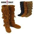 【送料無料】MINNETONKA 5Layer Fringe Long Boots ミネトンカ 5段フリンジ スエードロングブーツ【楽ギフ_包装選択】【28】
