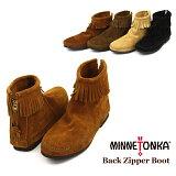 【送料無料】MINNETONKA Back Zipper Boot ミネトンカ バックジッパー スエードブーツ(282-283-287-289)【楽ギフ_包装選択】【r】【38】