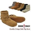 【送料無料】ミネトンカ(MINNETONKA) ダブル フリンジ サイド ジップ ブーツ(Double Fringe Side Zip Boot)【楽ギフ_包装選択】【r】【42】[BB]