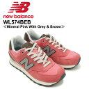 【送料無料】ニュー バランス(New Balance)WL574/574 Crusin ランニング スニーカー ≪WL574BEB/Mineral Pink With Grey & Brown≫シュー