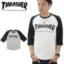 スラッシャー(THRASHER) MAG LOGO 3/4 BASEBALL TEE (TH8201) メンズ 7分袖 Tシャツ ポイント10倍 ゆうパケット送料無料[AA-2]