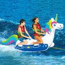 トーイングチューブ WOW/ワオ 2人乗り ユニコーン バナナボート ウォータートイ 浮き輪 空気注入式 水上バイク ジェット ボード 牽引