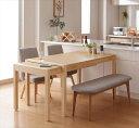 スライド伸縮テーブルダイニング S-free エスフリー 4点セット(テーブル+チェア2脚+ベンチ1脚) W135-235 「北欧 天然木 ダイニング4点セット」