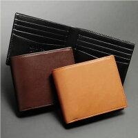 【日本製】コンパクト薄型本革(レザー)二つ折り財布短財布ブラック【smtb-tk】