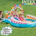 インテックス ビニールプール INTEX キャンディプレイセンター 57149 大型プール 295×191×130cm 滑り台つき シャワーつき ds-Ya