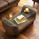 アジアン家具 ローテーブル ガラス リゾート ウォーターヒヤシンス 夏 ブラウン Wyja ウィージャ netc5