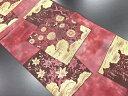 漆箔色紙に菊・紅葉模様織り出し本袋帯【リサイクル】【中古】