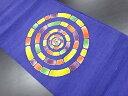 手織り紬重ね丸模様開き名古屋帯(額縁仕立て)【リサイクル】【中古】