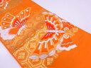 蝶に亀甲・花模様織出し袋帯【大正ロマン】【中古】帯 レトロ 大正浪漫
