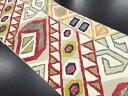 金糸幾何学模様織り出し袋帯【リサイクル】【中古】