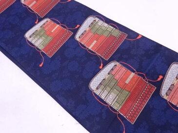 草花に鎧縅模様織出し袋帯【リサイクル】【中古】