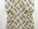 Kimono - 幾何学模様織り出し手織り真綿紬単衣着物【アンティーク】【中古】