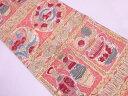絵皿に草花模様織出し袋帯(材料)【アンティーク】【中古】