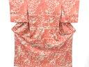 菊・笹に鶴模様手織り紬着物【アンティーク】【中古】(リメイク・材料)