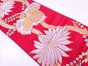 桐に花模様織出し袋帯(材料)【アンティーク】【中古】