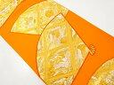 扇面に向かい鳥・菊・桐模様織り出し袋帯【リサイクル】【中古】