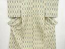 井桁絣織り出し手織り真綿紬単衣着物【アンティーク】【中古】