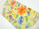 ショッピング皿 綴れ絵皿に花鳥模様織り出し袋帯【リサイクル】【中古】