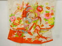 ショッピング刺繍 鳳凰に牡丹・菊模様刺繍着物【アンティーク】【中古】