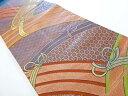 ショッピング帯 七宝・青海波・束ね模様織り出し名古屋帯【リサイクル】【中古】