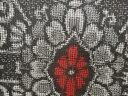ショッピング着物 縞に華紋模様織り出し本場村山泥大島紬着物【アンティーク】【中古】