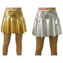 ダンス 衣装 スカート フレアスカート ミニ パンツつき ゴールド・シルバー フリーサイズ フランス輸入