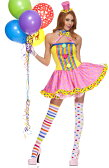 【ポイント16倍】ミュージックレッグス Music Legs ピエロ コスプレ サーカス コスチューム 4点セット ハロウィン コスプレ 衣装 XSサイズ SMサイズ MLサイズ