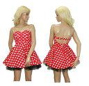 コスプレ ワンピース ドレス ベアワンピース ダンス 衣装 ボリューム スカート ミニー コスプレ ドット 水玉 柄 レッド