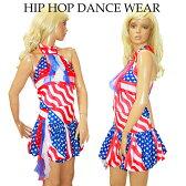 【ポイント16倍】ヒップホップ ダンス 衣装 アメリカ国旗柄 USA柄 星条旗 アメスリトップ バルーンスカート 2点セット ストレッチ フリーサイズ10P29Jul16