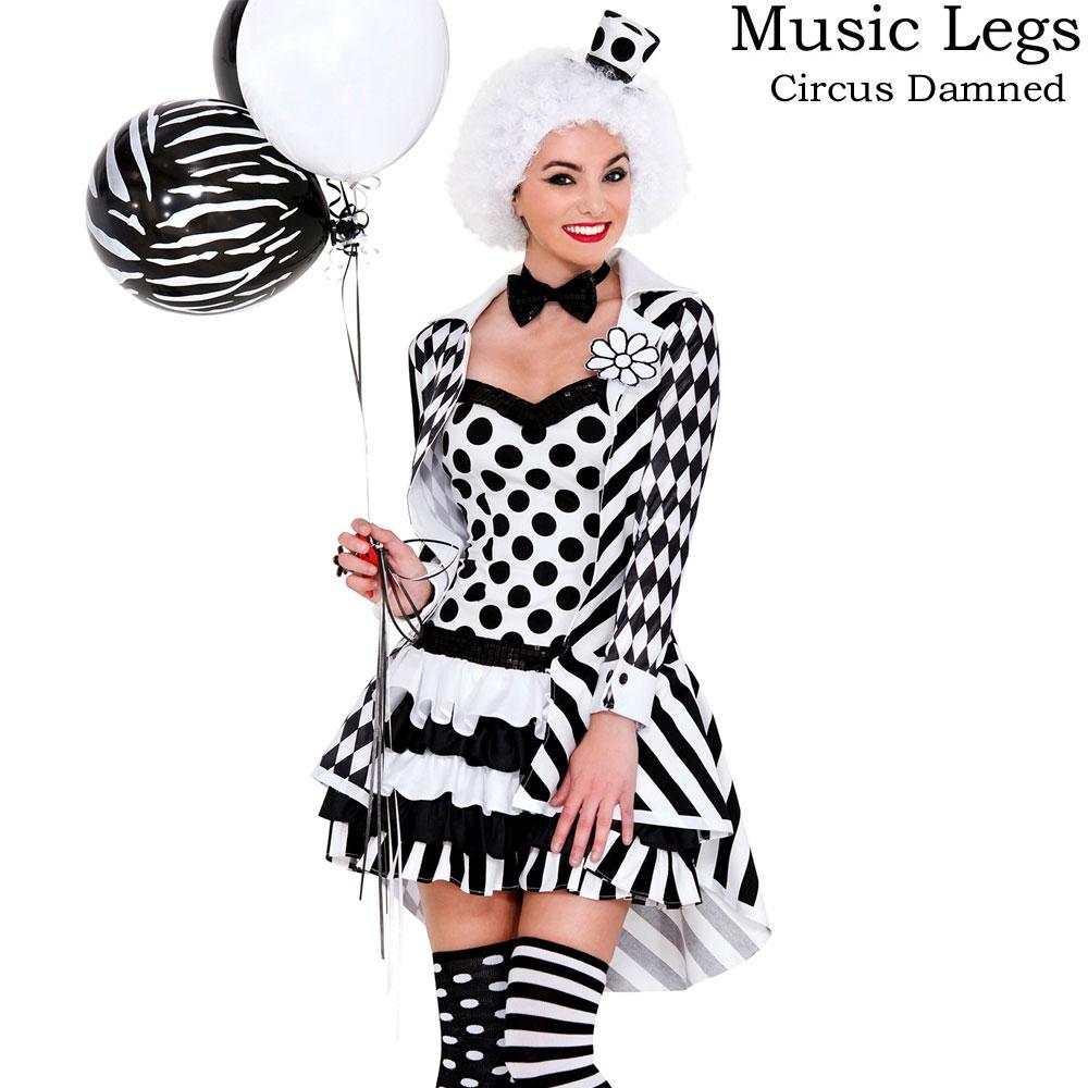 ポイント16倍 ミュージックレッグス Music Legs ハロウィン コスプレ ピエロ クラウン サーカス コスチューム サーカスコスプレ 5点セット XS・SM・MLサイズ