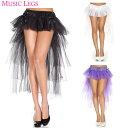 ポイント16倍 ミュージックレッグス Music Legs ボリューム スカート バーレスク ダンス 衣装 レイヤードチュール リボン付き ブラック ホワイト パープル