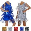 ポイント16倍 スパンコール ダンス衣装 ワンピース ドレス ノースリーブ フリンジ ワンピース ゴールド シルバー レッド ブルー ゴールド フリーサイズ