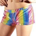 ポイント16倍 ショートパンツ ショーパン ダンス衣装 パンツ ダンスパンツ メタリック レインボー SMサイズ