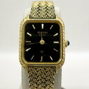 RADO Quartz ラドー 腕時計 133.9517 スクエア アナログ ゴールド ブラック ブレスレッド クォーツ レディース ヴィンテージ ラグジュ..