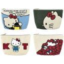 ●【送料無料】HelloKitty ハローキティ サガラ刺繍 もこもこパイル地ポーチ/クラッチバッグ 約27×17.5cm「他の商品と同梱不可」