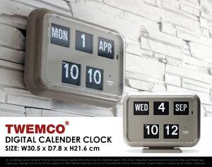 "TwemcoDigitalCalendarClock#QD-35""Gray""/トゥエンコデジタルカレンダークロックグレーパタパタ時計置き時計掛け時計クロック時計DETAIL【あす楽対応_東海】"