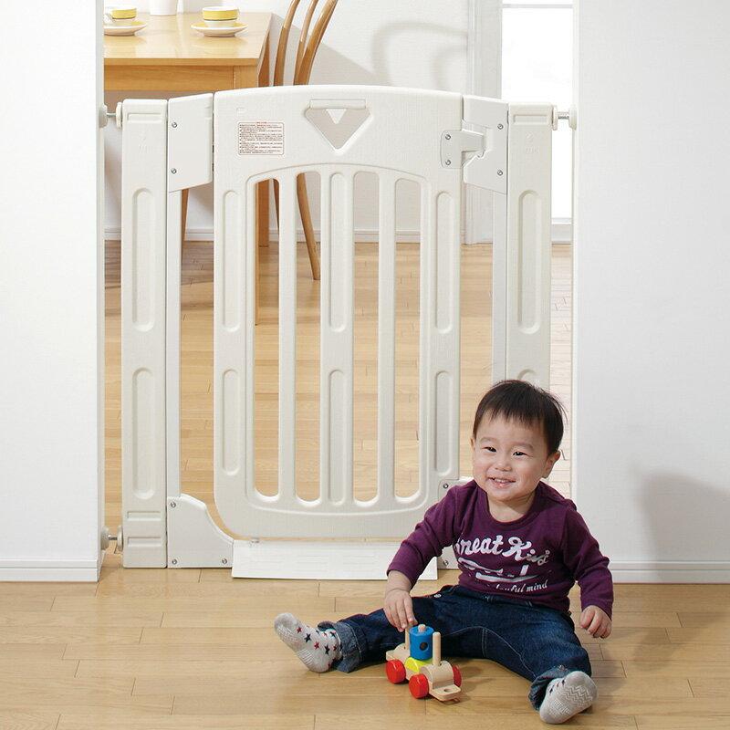スマートゲイト2ミルキーベビーゲート拡張フレーム付き日本育児ベビーフェンス両開き扉付きダブルロック機