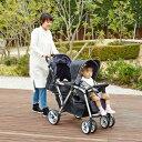 縦型二人乗りベビーカー Twin Pram ツインプラム ランダムドット【日本育児】