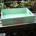 木箱 浅型 ブルー キャンティーナスタッキングボックス 青 ヴンテージ風 木製 箱 シャビー 木箱 アンティーク ナチュラル ガーデニングボックス スタッキングボックス プランターボックス