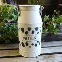 ミルクポット ヴァーシュ ホワイト ミルク缶 おしゃれ メタル缶 ブリキ缶 アイアン缶 ブリキポット ポット 白 ドライフラワー ナチュラル 園芸 ガーデニング インテリア ディスプレイ 農場