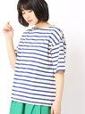 [Rakuten Fashion]デラヴェボーダー柄半袖Tシャツ Grand PARK NICOLE ニコル カットソー Tシャツ ブルー レッド ネイビー【送料無料】